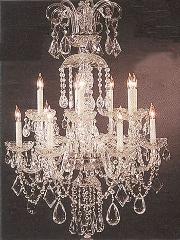 Authentic All Crystal Chandelier Lighting 38hx27w 18lts Murano - J10-11263/12+6