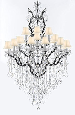 "19th C. Rococo Iron & Crystal Chandelier Lighting H 64"" W 41"" - Dressed With Large, Luxe Crystals! Good for Dining room, Foyer, Entryway, Living Room, Family Room! w/ White Shades - G83-B12/B89/996/25DC-WhiteShades"