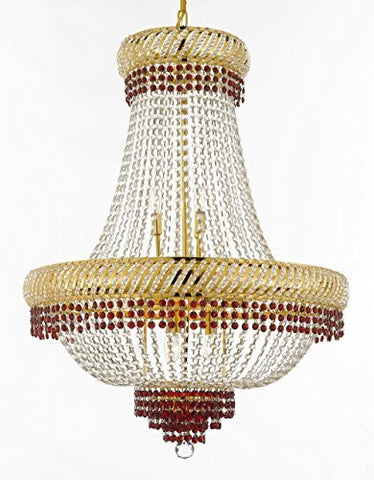 "French Empire Crystal Chandelier Chandeliers Lighting Trimmed With Ruby Red Crystal Good For Dining Room Foyer Entryway Family Room And More H34"" X W27"" - F93-B74/Cg/448/12"