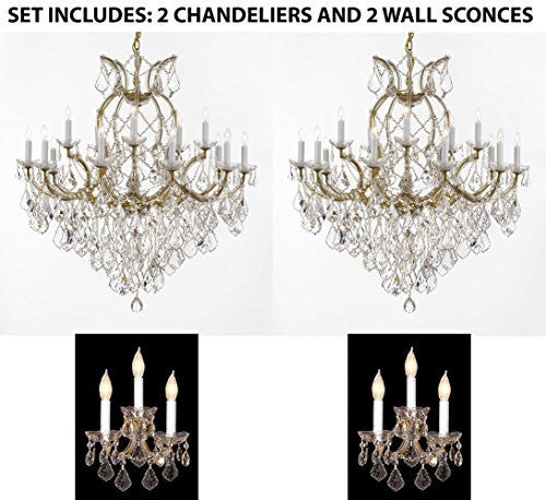 "Set Of 4 - 2 Maria Theresa Chandelier Crystal Lighting H38"" X W37"" And 2 Wall Sconce Crystal Lighting H14"" x W11.5"" Trimmed With Spectra (Tm) Crystal - Reliable Crystal Quality By Swarovski - 2Ea 1/21510/15+1 + 2Ea 3/2813Sw"