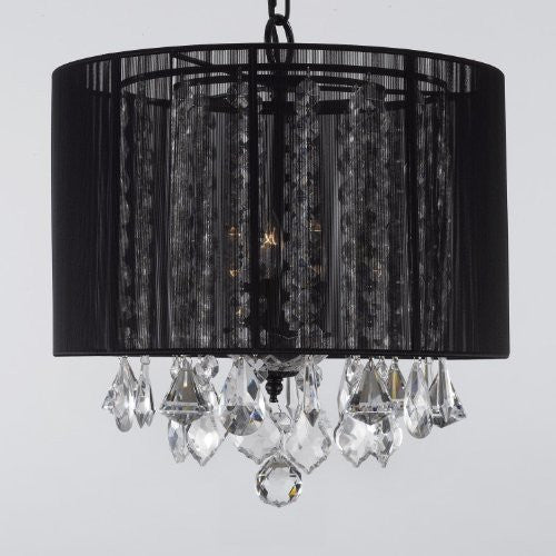 Crystal Chandelier With Large Black Shade H15 Quot X W15 Quot G7