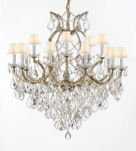 "Swarovski Crystal Trimmed Maria Theresa Chandelier Lights Fixture Pendant Ceiling Lamp For Dining Room Entryway Living Room Dressed With Large Luxe Crystals H38"" X W37"" With Whiteshades - A83-B90/Whiteshades/21510/15+1Sw"