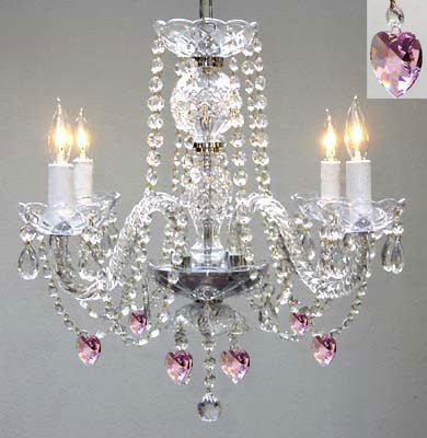 "Chandelier Lighting W/ Crystal Pink Hearts! H 17"" W17"" - G46-B21/275/4"