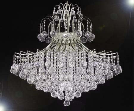 "Swarovski Crystal Trimmed Chandelier! Chandelier Lighting Dressed W/ Swarovski Crystal H30"" X W24"" - G93-Cs/876/9Sw"