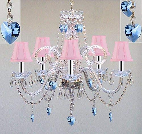 "Chandelier Lighting W/Crystal Pink Shades & Hearts W/Chrome Sleeves! H25"" x W24"" - Perfect for Kid's and Girls Bedroom! - GO-B43/A46-PINKSHD/B85/387/5/PINKHEARTS"