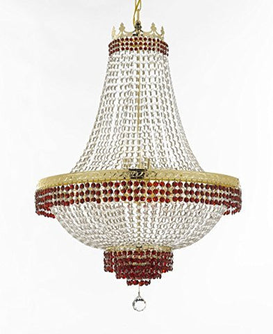 "French Empire Crystal Chandelier Chandeliers Lighting Trimmed With Ruby Red Crystal Good For Dining Room Foyer Entryway Family Room And More H36"" W30"" - F93-B74/Cg/870/14"
