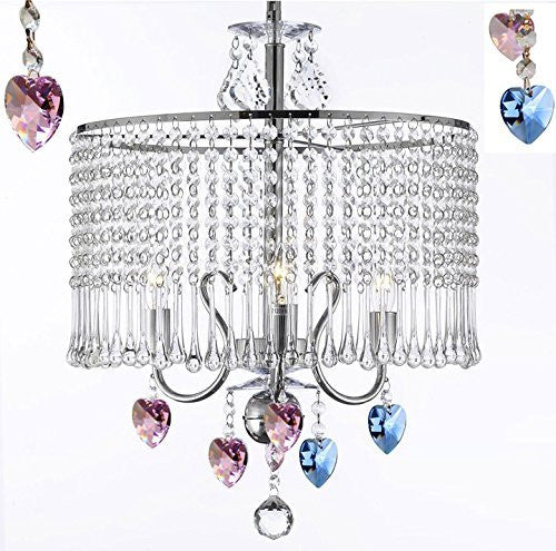 "Contemporary 3-Light Crystal Chandelier Chandeliers Lighting With Crystal Shade And Blue And Pink Crystal Hearts W 16"" X H 21"" Swag Plug In-Chandelier W/ 14' Feet Of Hanging Chain And Wire - J10-B15/B85/B21/26071/3"