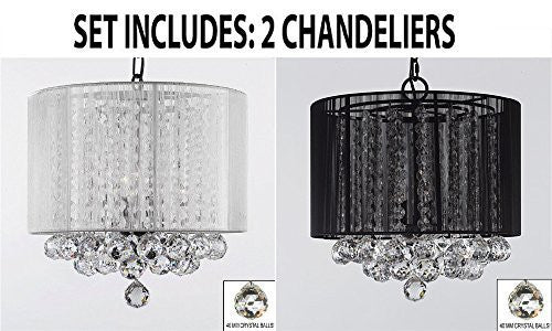 "Set Of 2 - 1 White And 1 Black Empress Crystal (Tm) Chandelier With Large Shade & Balls H15"" X W15"" - 1Ea B6/White/Sm/604/3 + 1Ea B6/Black/Sm/"