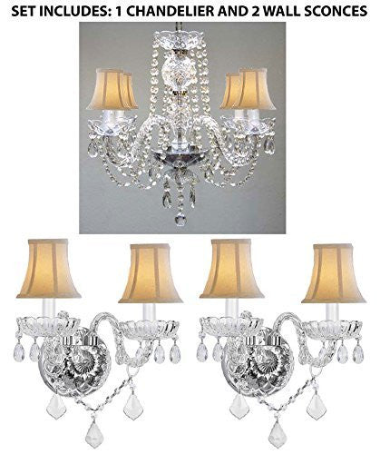 "Set Of 3 - 1 Crystal Chandelier Lighting H17"" X W17"" And 2 Crystal Wall Sconce Lighting H.10"" X W.10"" With White Shades - 1Ea-Sc/Whsh/275/4+2Ea-Sc/Whsh/B12/2/386"