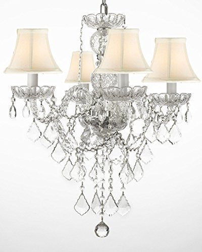 "New Authentic All Crystal Chandelier Lighting With White Shades H22"" X W17"" - G46-Whiteshades/3/275/4"