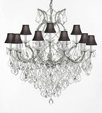 "Swarovski Crystal Trimmed Chandelier Maria Theresa Empress Crystal (Tm) Chandelier Lighting H 38"" W 37"" With Black Shades - A83-Sc/Blackshade/Silver/1/21510/15+1Sw"