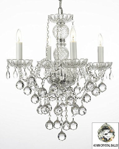 "Swarovski Crystal Trimmed Chandelier New Authentic All Crystal Chandelier Lighting W/ 40Mm Crystal Balls H22"" X W17"" - G46-B6/3/275/4 Sw"