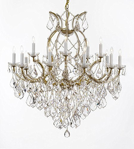 "Swarovski Crystal Trimmed Maria Theresa Chandelier Lights Fixture Pendant Ceiling Lamp For Dining Room Entryway Living Room Dressed With Large Luxe Crystals H38"" X W37"" - A83-B90/21510/15+1Sw"