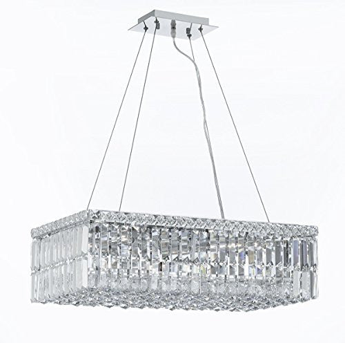 "Modern Contemporary Rectangular Empress Crystal (Tm) Chandelier Lighting W.12"" H.7.5"" L.24"" - Cjd-Cs/2189/24"