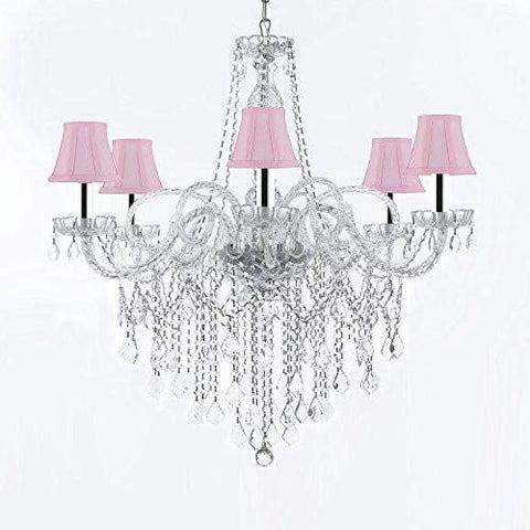 "Murano Venetian Style All-Crystal Chandelier Chandeliers with Pink Shades W/Chrome Sleeves H38"" X W32"" - G46-B43/SC/PINKSHADES/B12/B67/385/6"