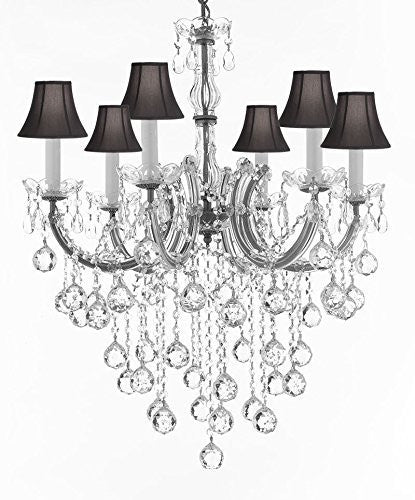 "Swarovski Crystal Trimmed Chandelier Maria Theresa Chandelier Crystal Lighting Chandeliers With Black Shades H 30"" W 22"" - J10-Sc/B61/Silver/26067/6Sw"