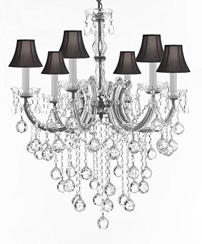 "Maria Theresa Chandelier Crystal Lighting Chandeliers With Black Shades H 30"" W 22"" - J10-Sc/B61/Silver/26067/6"