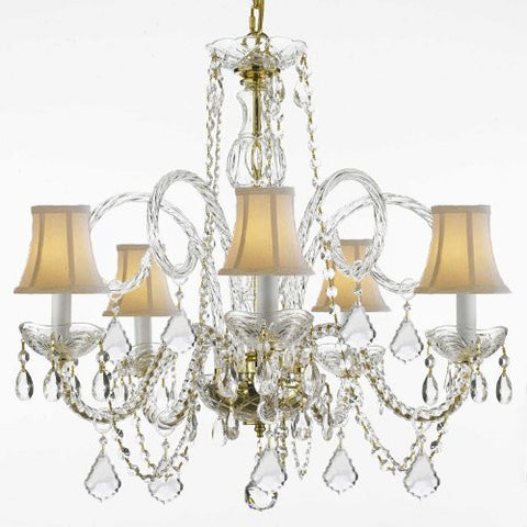 "Crystal Chandelier Lighting With White Shades H 25"" W 24"" - Cjd-G46-Gold/Whiteshades/385/5"
