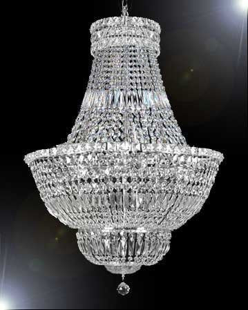 "Swarovski Crystal Trimmed Chandelier French Empire Crystal Chandelier Lighting H30"" W24"" - A93-Silver/454/9Sw"