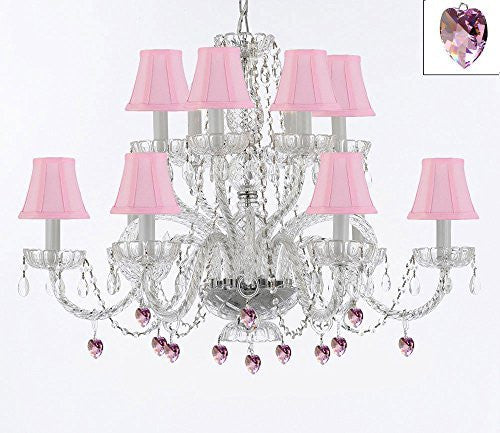 Murano Venetian Style All Empress Crystal (Tm) Chandelier With Pink Crystals And Shades - A46-B21/Sc/Pinkshades/385/6+6