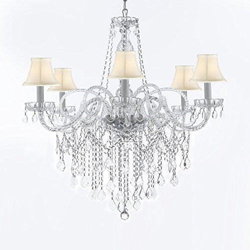 "Murano Venetian Style All-Crystal Chandelier With White Shades H38"" X W32"" - G46-Sc/Whiteshades/B12/B67/385/6"