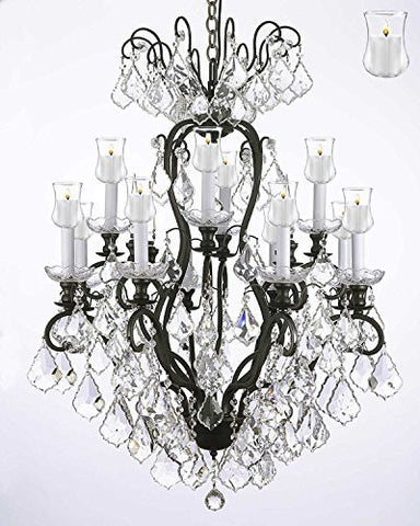 "Wrought Iron Crystal Chandelier Lighting Chandeliers With Candle Votives H30"" X W28"" - F83-B31/556/12"