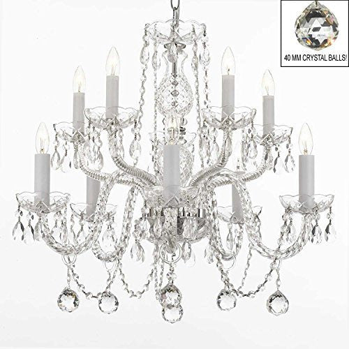 All Empress Crystal (Tm) Chandelier With 40Mm Crystal Balls! Swag Plug In-Chandelier W/ 14' Feet Of Hanging Chain And Wire! - A46-B15/B6/Cs/1122/5+5