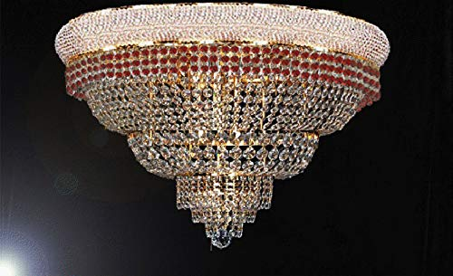 "Flush French Empire Crystal Chandelier Chandeliers Moroccan Style Lighting Trimmed with Ruby Red Crystal! Good for Dining Room, Foyer, Entryway, Family Room and More! H16"" X W30"" - G93-FLUSH/B74/CG/448/21"