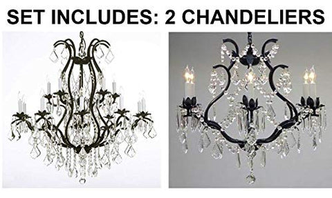 "Set of 2-1 Wrought Iron Chandelier Crystal Chandeliers Lighting H36"" X W36"" and 1 Wrought Iron Crystal Chandelier Lighting - Great for Bedroom, Kitchen, Dining Room, Living Room, and More! - 1EA 3034/10+5 + 1EA 3530/6"