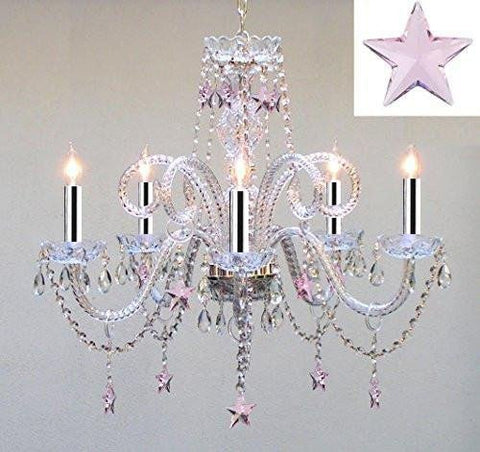 Empress Crystal(TM) Chandelier Lighting with Pink Crystal Stars w/Chrome Sleeves! H25 X W24 - Nursery, Kids, Girls Bedrooms, Kitchen, Etc! - GO-A46-B43/B38/387/5/PINK