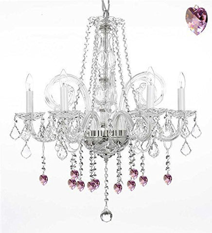"Crystal Chandelier Lighting With Pink Crystal Hearts H25"" X W24"" - G46-B21/385/5"