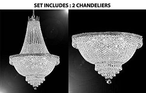 "French Empire Crystal Chandelier Lighting H30"" X W24"" And Semi Flush Chandelier Lighting H18"" X W24"" - 1Ea Silver/870/9 + 1Ea Flush/Cs/870/9"