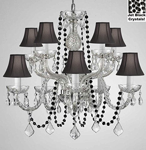 "Authentic All Crystal Chandelier Chandeliers Lighting With Jet Black Crystals And Black Shades Perfect For Living Room Dining Room Kitchen Kid'S Bedroom H25"" W24"" - G46-B80/Cs/Blackshades/1122/5+5"