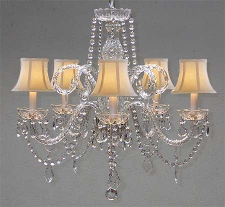 "Crystal Chandelier Lighting With White Shades H 25"" X W 24"" Swag Plug In-Chandelier W/ 14' Feet Of Hanging Chain And Wire - A46-B15/Shades/385/5"