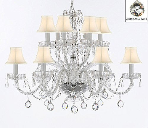 Murano Venetian Style All Empress Crystal (Tm) Chandelier With Crystal Balls And White Shades - A46-B6/Sc/Whiteshades/385/6+6