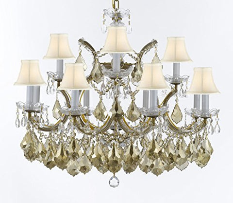 "Maria Theresa Chandelier Crystal Lighting H 22"" X W 28"" W/ Golden Teak Crystal W/ White Shades Good For Dining Room, Entryway , Living Room - A83-SC/WHTSH/B2/GOLDENTEAKGOLD/1534/12+1"