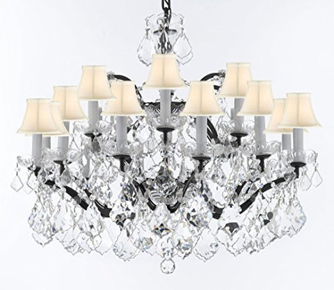 "19th C. Rococo Iron & Crystal Chandelier Lighting H 22"" x W 30"" - Dressed With Large, Luxe Crystals! Good for Dining room, Foyer, Entryway, Living Room, Bedroom! w/ White Shades - G93-WHITESHADES/B62/B89/995/18DC"