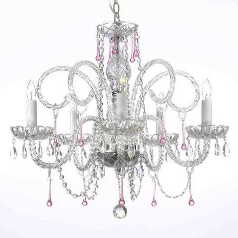 "Pink Crystal Chandelier Lighting H25"" X W24"" - A46-387/5Pink"