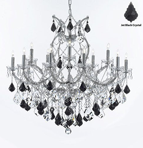 "Maria Theresa Chandelier Lighting Crystal Chandeliers H38 ""X W37"" - Chrome Finish Dressed With Jet Black Crystals Great For The Dining Room Living Room Family Room Entryway / Foyer - A83-Chrome/B20/2527/15+1"