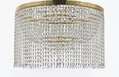 "French Empire Crystal Semi Flush Chandelier Chandeliers Lighting With Crystal Bead Shade / Curtain H19"" X W24"" - F93-Flush/B68/Cg/870/9"