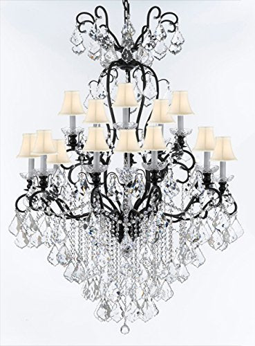 "Wrought Iron Crystal Chandelier Lighting W38"" H60"" - Good for Entryway, Foyer, Living Room, Ballrooms, Catering Halls, Event Halls! w/ White Shades - F83-WHITESHADES/B12/556/16"