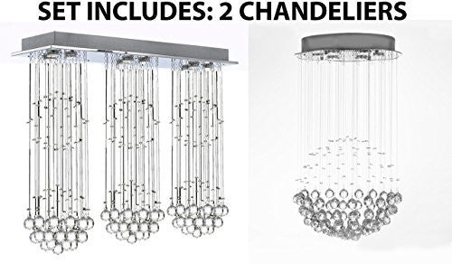 "Set Of 2 - Modern Contemporary Chandelier Triple ""Rain Drop"" Chandeliers Lighting With Crystal Balls - 1Ea Md/9342/3+3+3 + 1Ea Silver/Md9342/6"