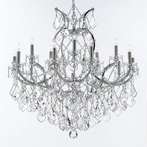"Maria Theresa Chandelier Lighting Crystal Chandeliers H38 ""X W37"" Chrome Finish Great For The Dining Room Living Room Family Room Entryway / Foyer - A83-Chrome/2527/15+1"
