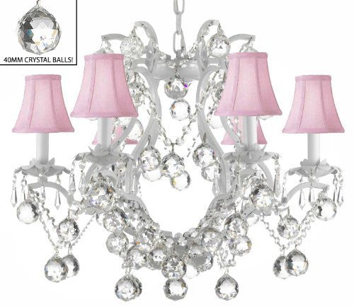 "White Wrought Iron Crystal Chandelier Lighting H 19"" W 20"" Dressed With Feng Shui 40Mm Crystal Balls And Pink Shades - A83-Pinkshadesb6/White/3530/6"