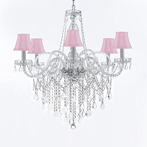 "Murano Venetian Style All-Crystal Chandelier With Pink Shades H38"" X W32"" - G46-Sc/Pinkshades/B12/B67/385/6"