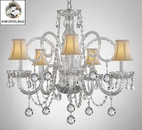 Crystal Chandelier With White Shades & Crystal Balls - A46-B6/Whiteshades/385/5