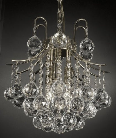 French Empire Crystal Chandelier Chandeliers Lighting SILVER H13 X Wd12 3 Lights Empire - J10-742/3 SILVER