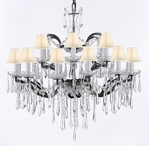 "Nineteenth C. Rococo Iron & Empress Crystal (Tm) Chandelier Lighting Crystal Icicles H 28"" X W 30"" With White Shades - G83-Whiteshades/B27/995/18"