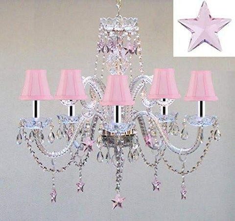 "Swarovski Crystal Trimmed Chandelier! Crystal Chandelier Lighting with Pink Crystal Stars w/Chrome Sleeves H25"" X W24"" - Nursery, Kids, Girls Bedrooms, Kitchen, Etc! - GO-B43/A46-PINKSHADES/B38/387/5/PINK SW"