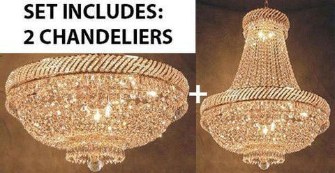 "Set Of 2 - French Empire Crystal Chandelier Lighting H26"" X W23"" + French Empire Crystal Flush Chandelier Lighting H 18"" W 23"" - Good For The Dining Room Foyer Hallway Bedroom Kitchen - 1Ea-F93-448/9+1Ea-F93-Flush/448/9"